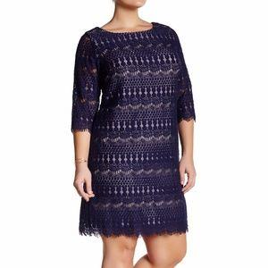 NWT Eliza J 3/4 Sleeve Lace Shift Navy Dress